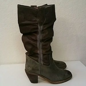 Diesel Leather Slouchy Calf Tall Biker Riding Boot